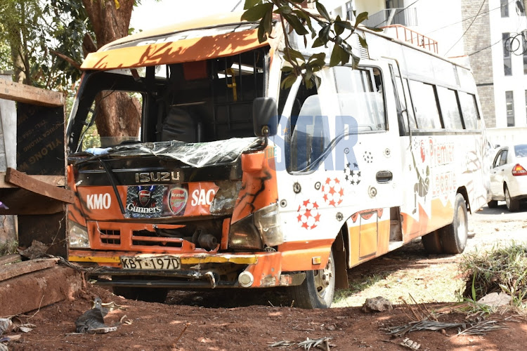A matatu from KMO Sacco that hit Ghost Mulee's car from behind at Spring valley police station on October 16,2020/ MERCY MUMO