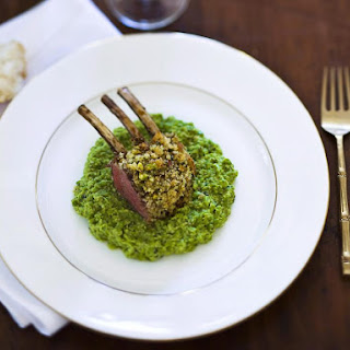 Pistachio Crusted Rack of Lamb with Peas.