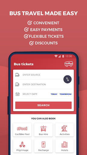 redBus - rPool Online Bus Ticket Booking App India screenshot 1