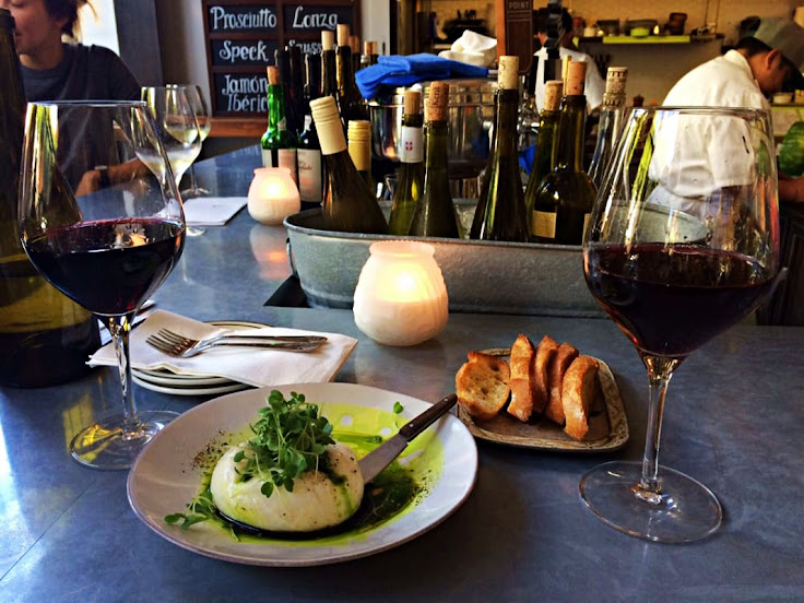 The burrata and a glass of red. Wonderful combo.