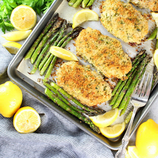 One Pan Parmesan Pork Chops and Asparagus.