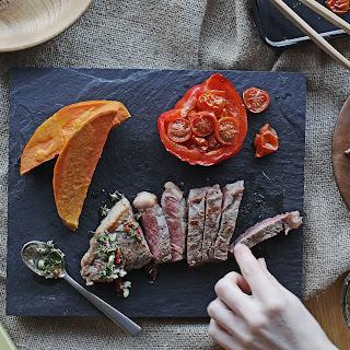 Chimichurri Steak With Roasted Pepper & Baked Sweet Potato