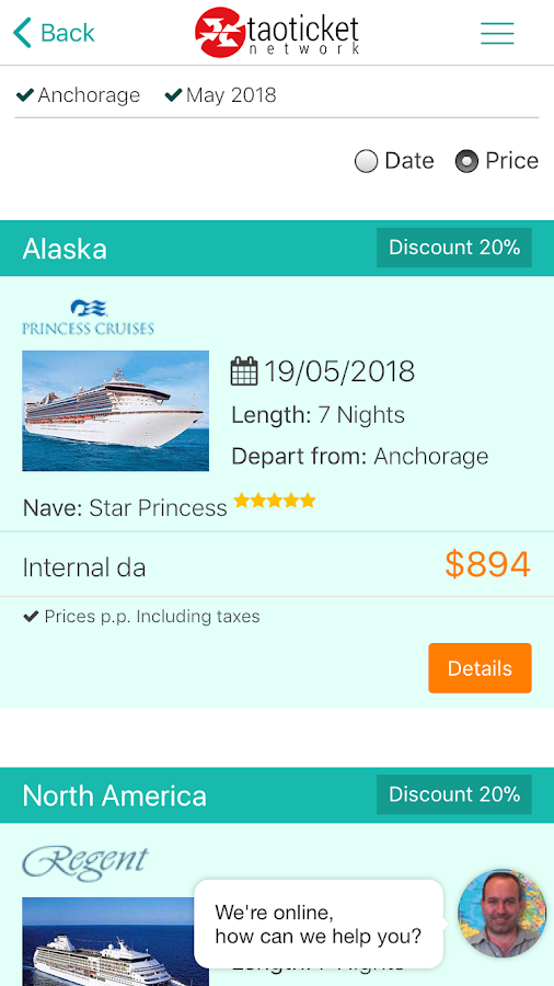 Taoticket - Specialists in Cruises- screenshot