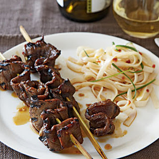 Korean-Style Beef Skewers with Rice Noodles