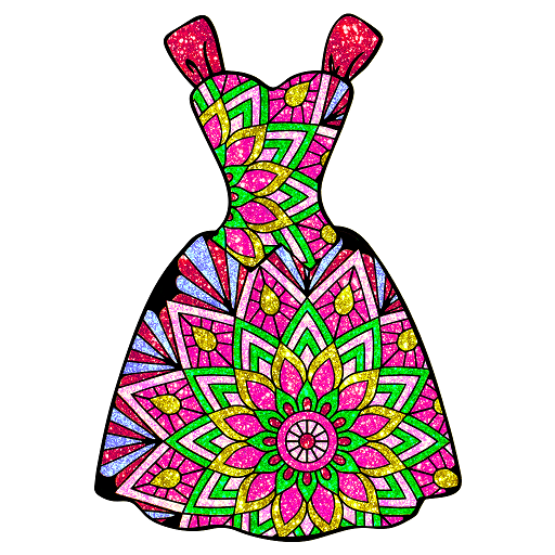 Dress Glitter Color by Number : Fashion Coloring Icon