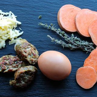 "Sweet Potato Crusted, Sausage ""Quiche"" Casserole (Paleo, Low-fodmap)"