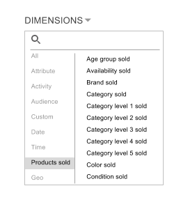 Select a dimension in the Products sold category.