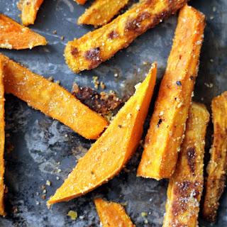 Parmesan and Garlic Baked Sweet Potato Fries