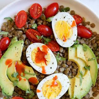 Lentil Bowls with Avocado, Eggs and Cholula.