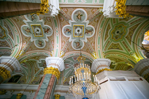 saints-peter-and-paul-cathedral-ceiling.jpg - The mosaic ceiling of Sts. Peter and Paul Cathedral, which dates to 1733.