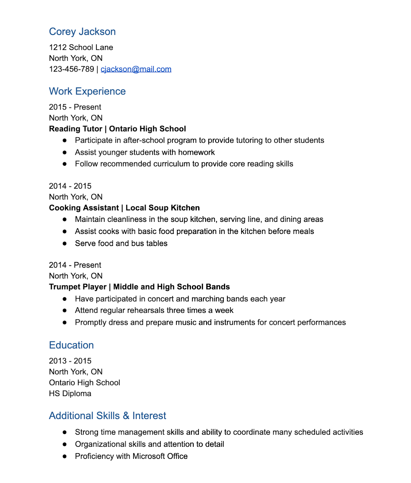 Part-Time Job CV Example for Students from Monster.ca