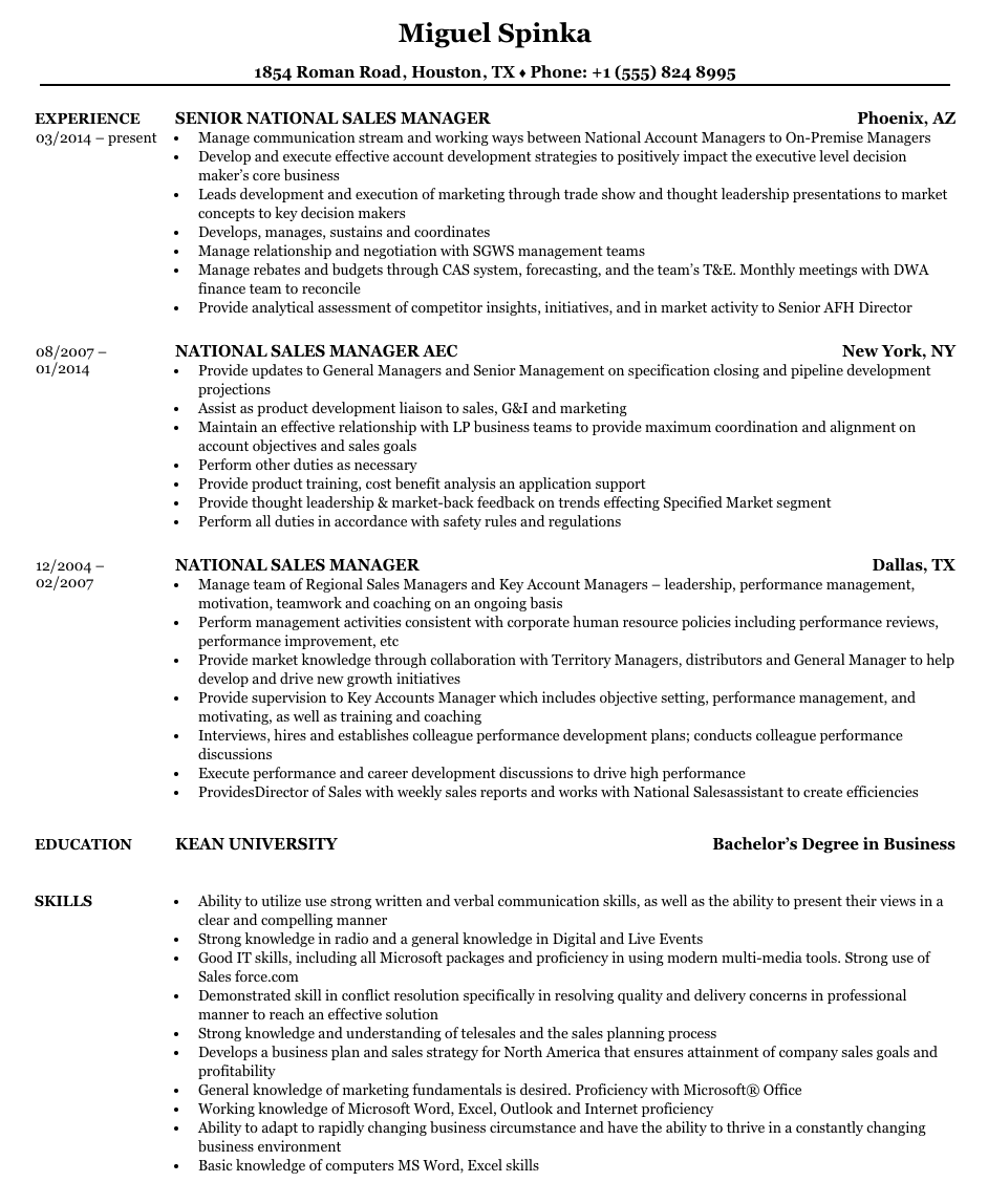 national sales manager resume example