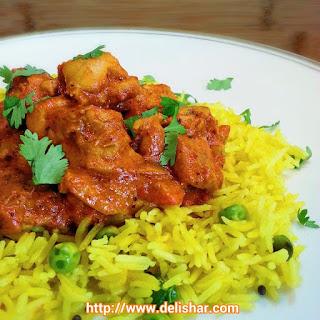Chicken Tikka Masala on Spiced Basmati Rice.