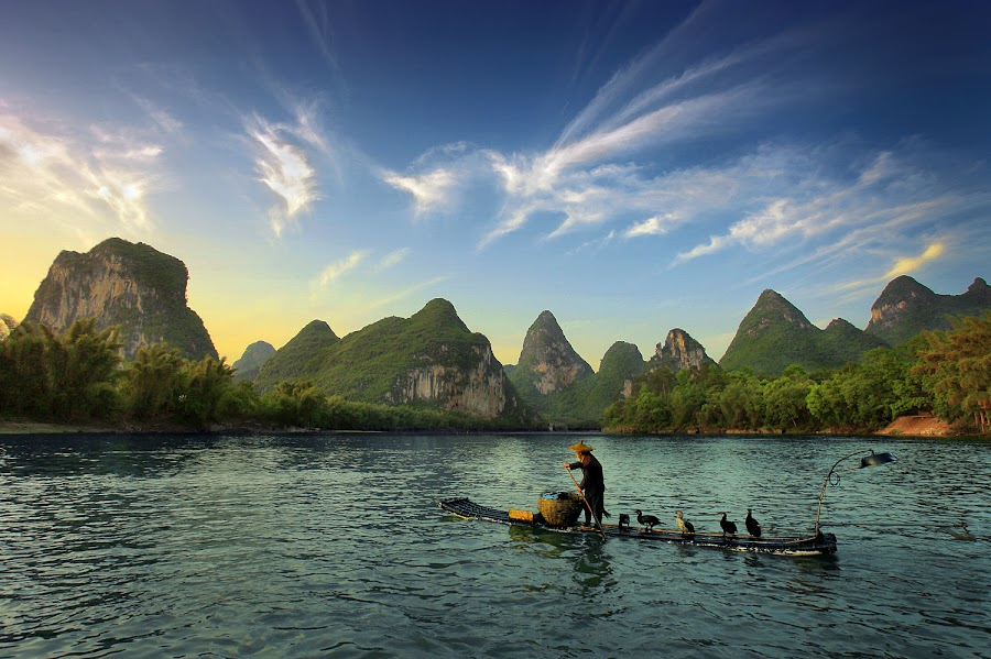 Going Home... by Al Juniarsam  - Landscapes Mountains & Hills ( cormorant, fisherman, guilin, china, pwcpaths )