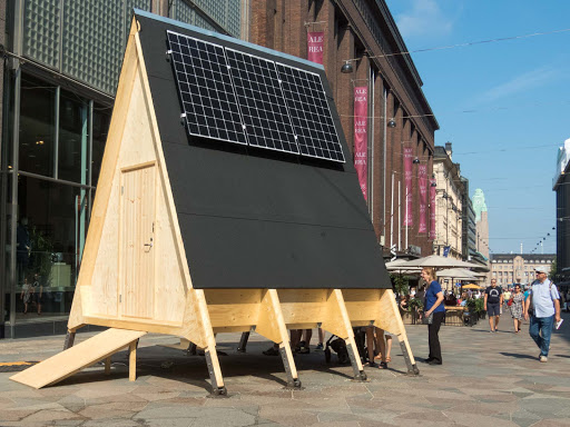 tiny-house-prototype.jpg - A tiny house, as they're called, with solar heating on display in Helsinki.