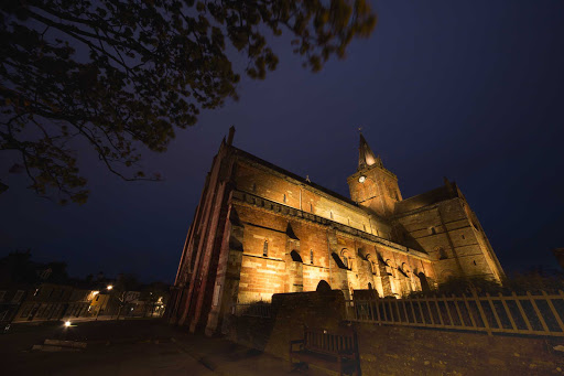 St. Magnus Cathedral dates to 1137 in the town of Kirkwall, Orkney region, Scotland.