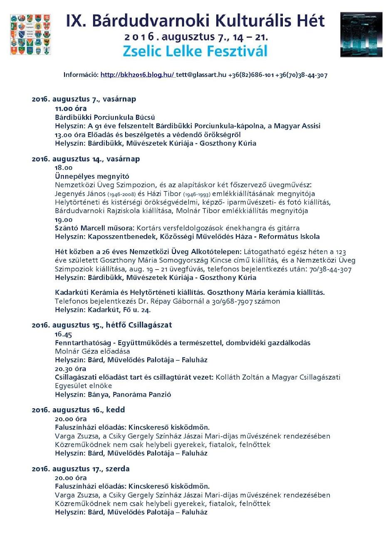 Bárdudvarnoki Kulturális Hét 2016