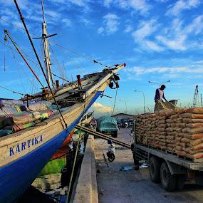 Traditional Port by Rudy Kurniawan - Transportation Boats