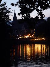 Photo: Sonnenuntergang mit Blick auf die Tübinger Stiftskirche (davor der Neckarmüllerbiergarten)