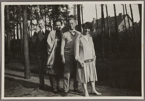 Georg Muche, his wife, Wassily and Nina Kandinsky in the garden in Dessau