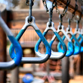 Day at the Park by Shaun Schlager - Artistic Objects Toys ( repitition, monkey bars, park, pattern, blue )