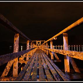 oilbridge by Benny Høynes - Buildings & Architecture Bridges & Suspended Structures ( wood, night, bridge, evening, sortland )