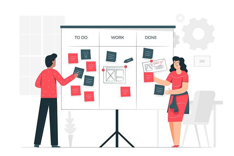 ilustração de duas pessoas trabalhando em um painel de gerenciamento de projetos