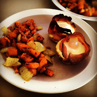 BACON WRAPPED EGGS WITH SWEET POTATO HASH