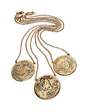 Photo: AMY ZERNER 14k yellow gold plating over bronze astrological necklaces. Each pendant is engraved with a zodiac sign on one side and its secret power word on the other. $250. Imported. 5F. 212 872 8967