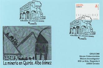 Photo: Tarjeta del matasellos de Grucomi en Bárzana de Quirós, con la locomotora FM-102 La Quirós y el cargadero de carbón de Santa Marina