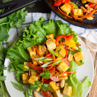 Stir-Fried Veggie & Curried Tofu Lettuce Wraps