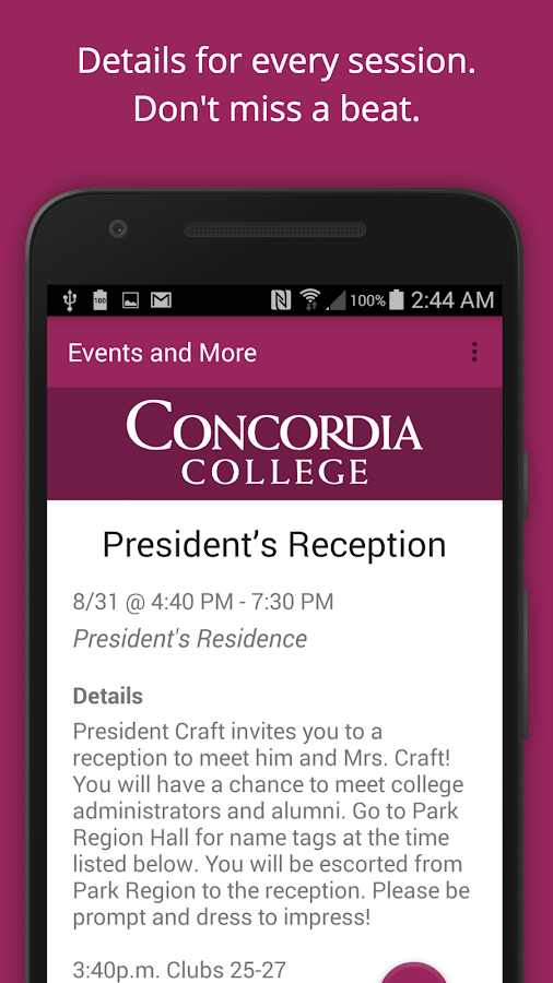 Concordia College Campus Life- screenshot
