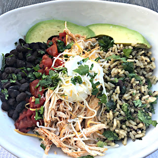 Instant Pot Shredded Chicken Taco Bowl with Cilantro Brown Rice and Quinoa Recipe