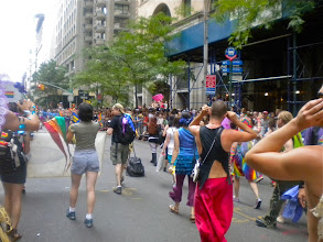 Photo: The Heritage of Pride gay pride march, Fifth Avenue between 16 and 17 streets, Chelsea, 26 June 2011. (Photograph by Elyaqim Mosheh Adam.)