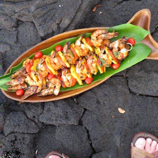 Kona Kabobs with Shrimp, Pineapple and Portuguese Sausage
