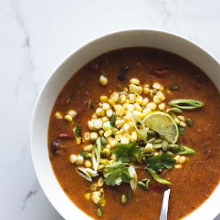 Smoky Roasted Tomato, Black Bean + Polenta Soup.