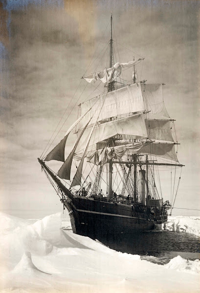 Photo: Terra Nova caught in the pack ice, 13 December 1910. Image courtesy of the Royal Geographical Society.