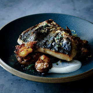 Mackerel with Crushed Potatoes and Oregano.