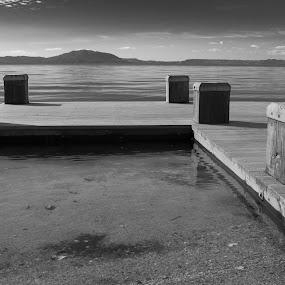 pier by Karina Zawilinski - Black & White Buildings & Architecture ( square, pier, abstract, lake, landscape )