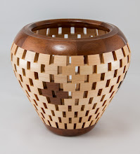 "Photo: Mike Twenty 7"" x 6 1/4"" open segmented vase [walnut, maple]"