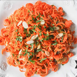 Spiralized Carrot Salad with Herbs and Toasted Almonds.