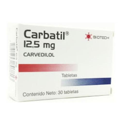 Carvedilol Carbatil 12.5mg 30 Tabletas Biotech