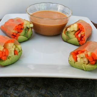 Vegetable Spring Rolls with Peanut Sauce.