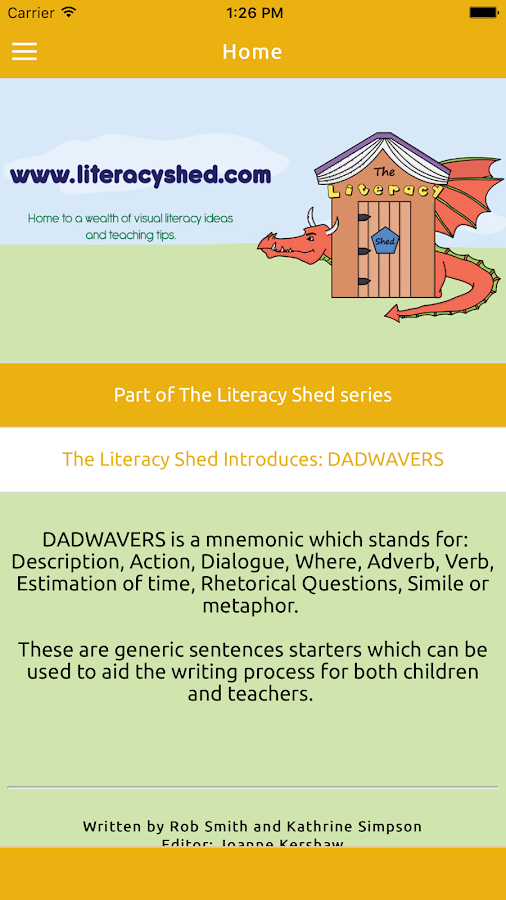 DADWAVERS: A Literacy Shed App- screenshot