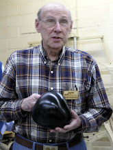 Photo: David Jacobowitz with his birch bowl dyed black with leather shoe dye
