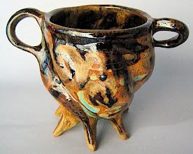 """Photo: """"Hobit"""" soup mug, 1/6 glaze test mugs 5"""" h x 7.25"""" w"""