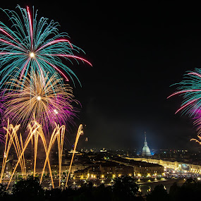 Night view... by Florin  Galan - City,  Street & Park  Night ( turin, fireworks, landscape, city,  )