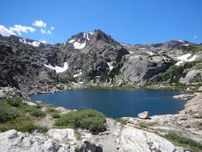 Photo: Bluebird Lake and Ouzel Peak. Photo by Bill Walker