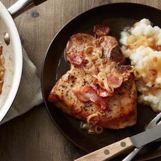 Skillet Pork Chops in Bacon-Cider Sauce.