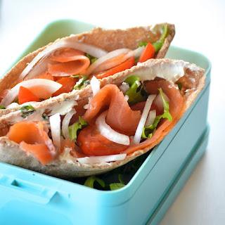 Smoked Salmon and Arugula Pita Sandwiches